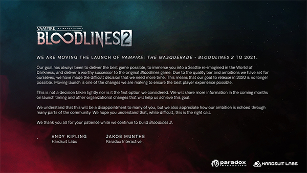 Vampire: The Masquerade — Bloodlines 2 — Delay