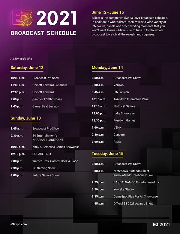 E3 2021 — Schedule
