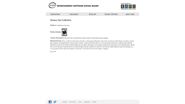 Serious Sam Collection — ESRB