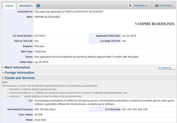Vampire Bloodlines — Trademark